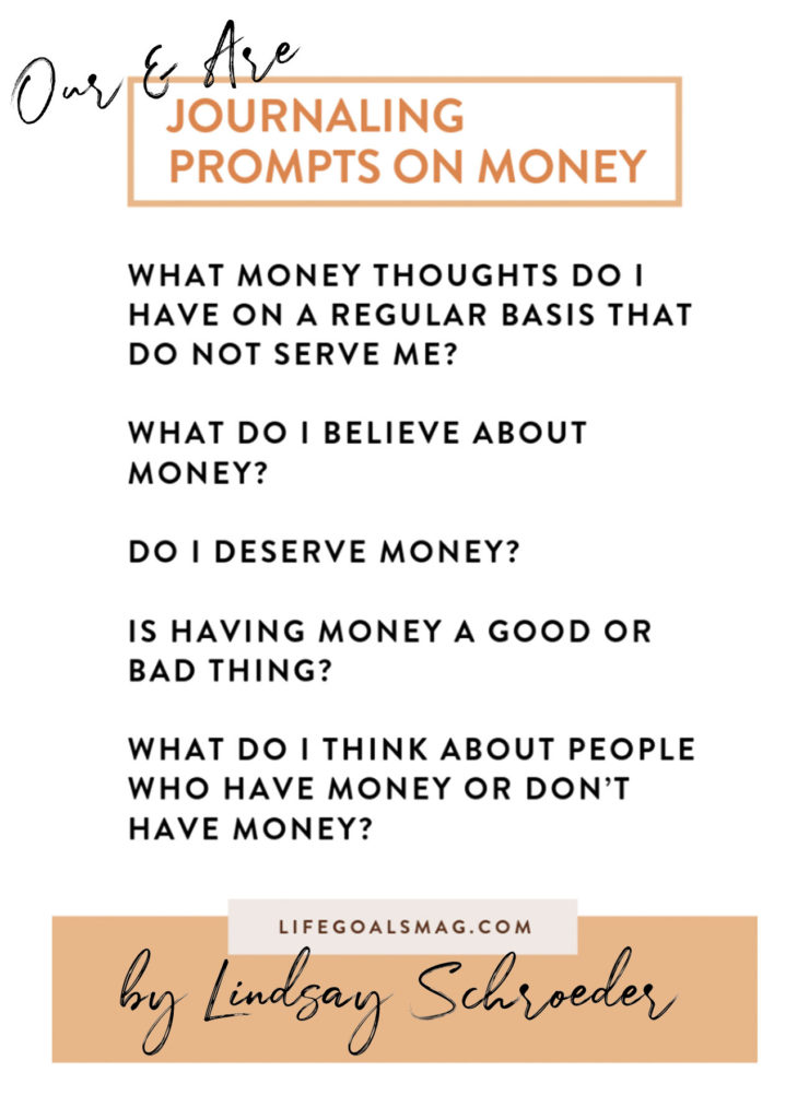 Journal Prompts on Money by Lindsay Schroeder of Our & Are